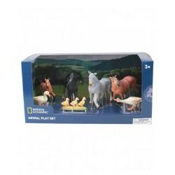 SET 7 FIGURAS ANIMALES GRANJA 4 CABALLOS Y 4 PATOS