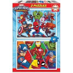PUZZLES 2 X 20 PIEZAS SUPER HEROE ADVENTURE