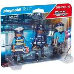SET 3 FIGURAS POLICIA PLAYMOBIL 70669