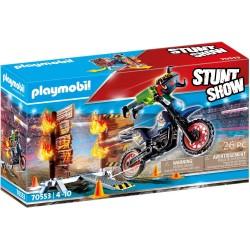 STUNTSHOW MOTO CON MURO DE FUEGO PLAYMOBIL 70553