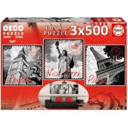 PUZZLE 3 X 500 PIEZAS GRANDES CIUDADES