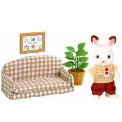 SYLVANIAN FAMILIES SET DE SOFA FRASIER CONEJO CHOCOLATE