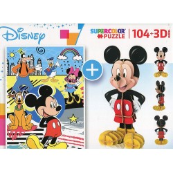 MICKEY MOUSE PUZZLE 104 PIEZAS 3 D